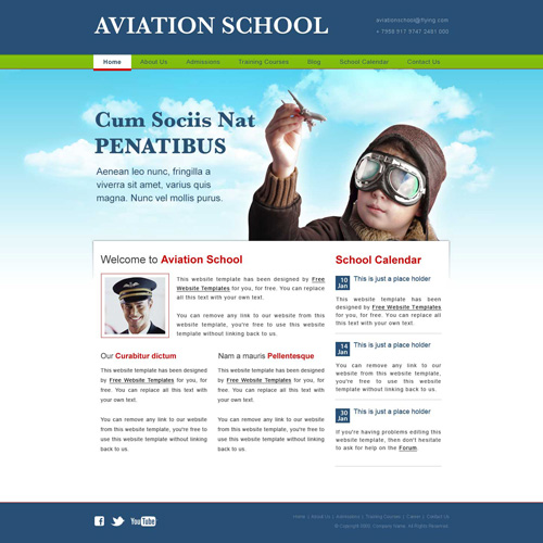 aviation school web template free website templates. Black Bedroom Furniture Sets. Home Design Ideas