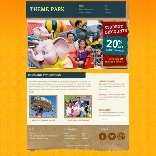 Amusement park website template free website templates todays new template is an amusement park website template good for amusement park owners tour agencies and other similar entertainment providers pronofoot35fo Image collections
