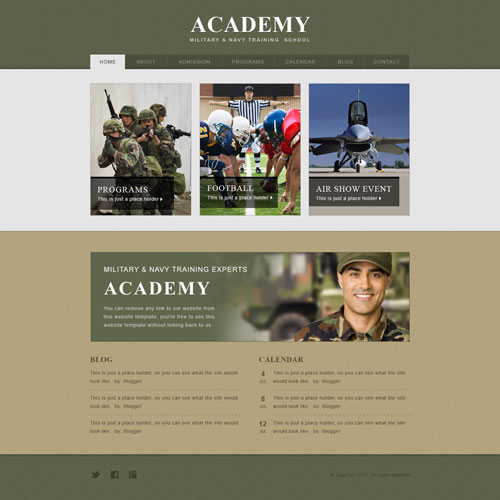 Army Academy Website Template | Free Website Templates