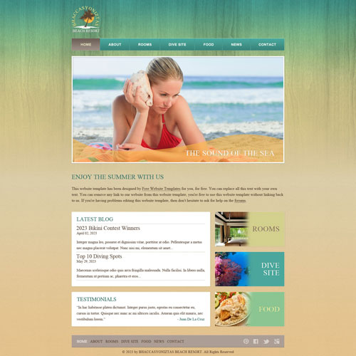 Beach Resort Web Template Free Website Templates