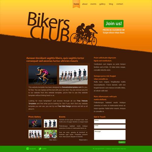 ready bikers club website template free website templates. Black Bedroom Furniture Sets. Home Design Ideas