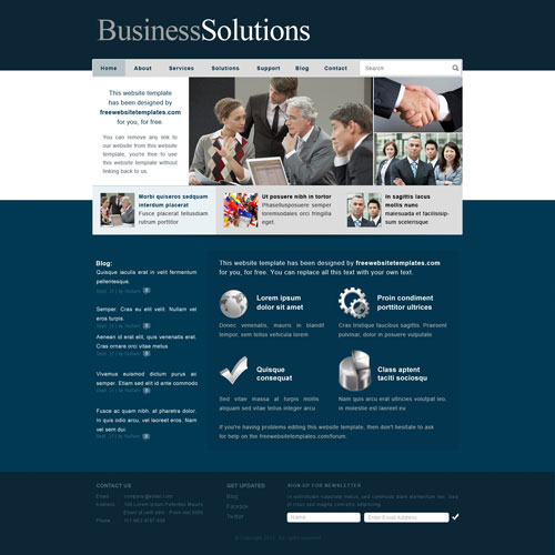 Business Solutions Website Template Free Website Templates wICaF6RT