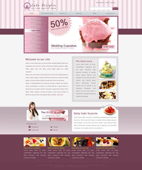 Cake Designs Website : Cake Website Template Free Website Templates