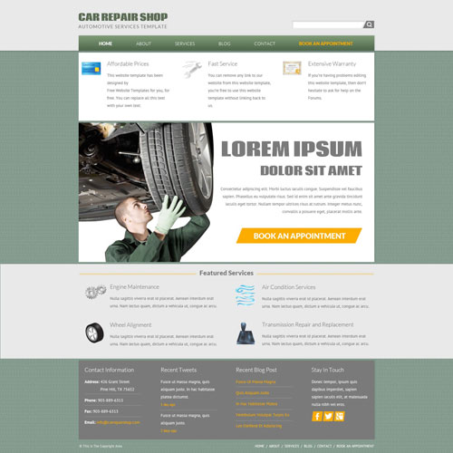 car repair shop website template | free website templates, Invoice templates