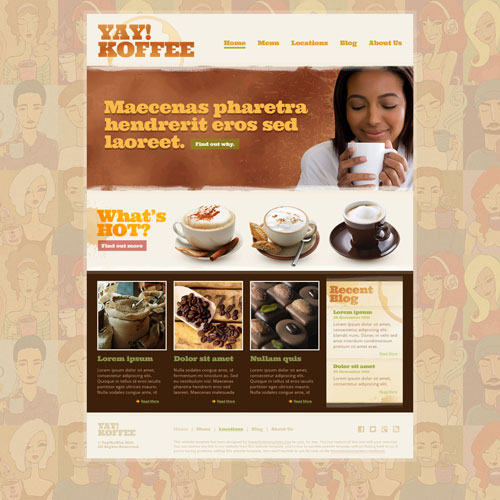 coffee shop web template free website templates. Black Bedroom Furniture Sets. Home Design Ideas