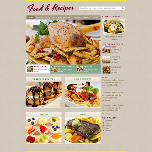 Cooking recipe web template free website templates todays new template is a recipe website template good for a cooking recipe website or any other website about food forumfinder