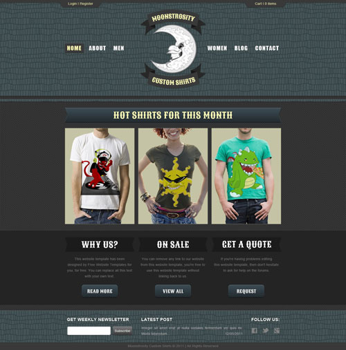 Custom shirt web template free website templates for Websites to create shirts