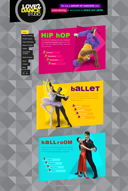Dance Studio Web Template Free Website Templates - Photo studio website template