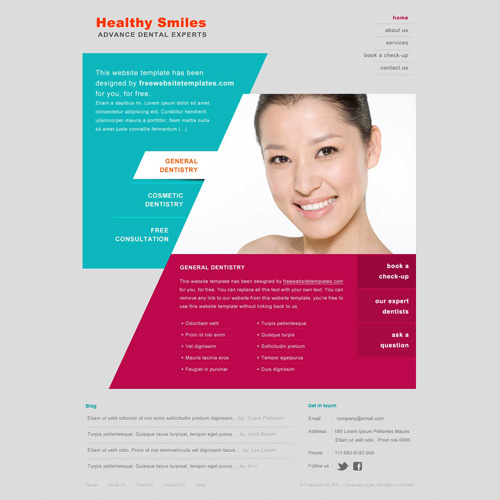 dentist website template free website templates