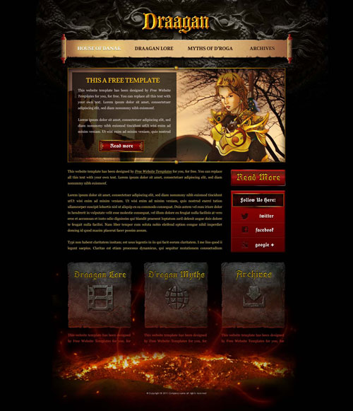 fantasy game web template with original illustrations free website templates. Black Bedroom Furniture Sets. Home Design Ideas
