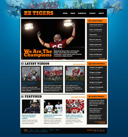 football website template free website templates. Black Bedroom Furniture Sets. Home Design Ideas