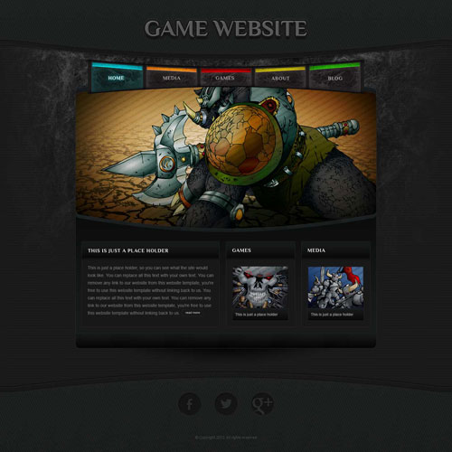 game website template with original illustrations free website