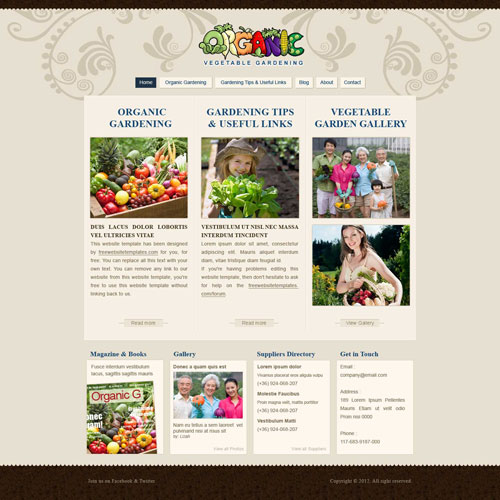 gardening website template free website templates. Black Bedroom Furniture Sets. Home Design Ideas