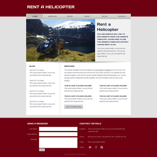 Helicopter Transportation Web Template | Free Website Templates