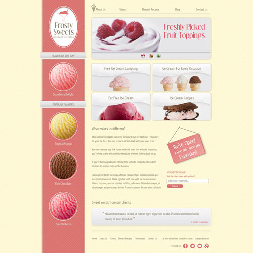 Ice Cream Website Template Free Website Templates
