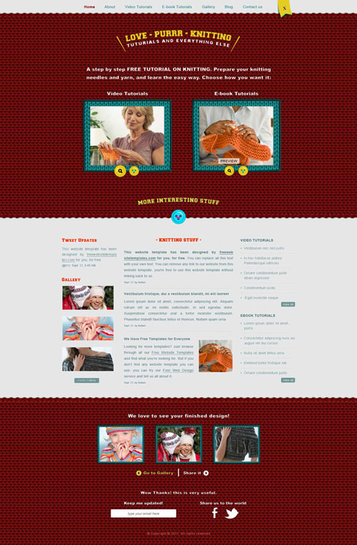 Knitting Layout Template | Free Website Templates