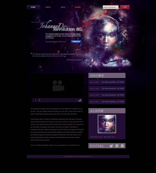 Music artist website template free website templates for Best art websites for artists