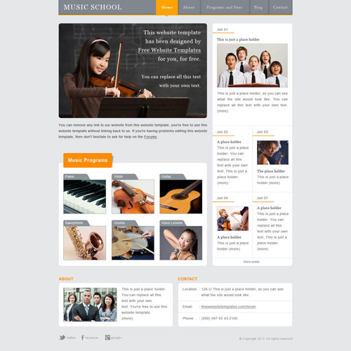 music school website template free website templates