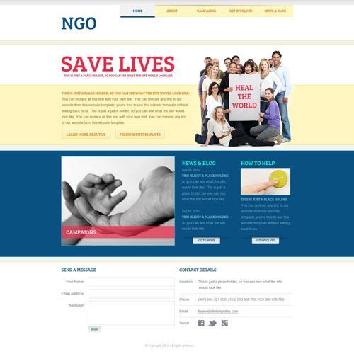 ngo website template free website templates. Black Bedroom Furniture Sets. Home Design Ideas