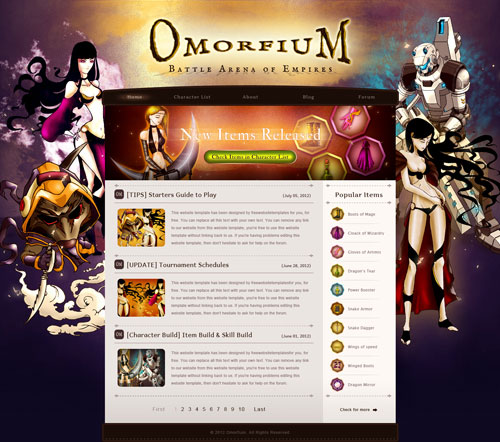 Omorfium Gaming MMORPG or MMO Website with original illustrations ...