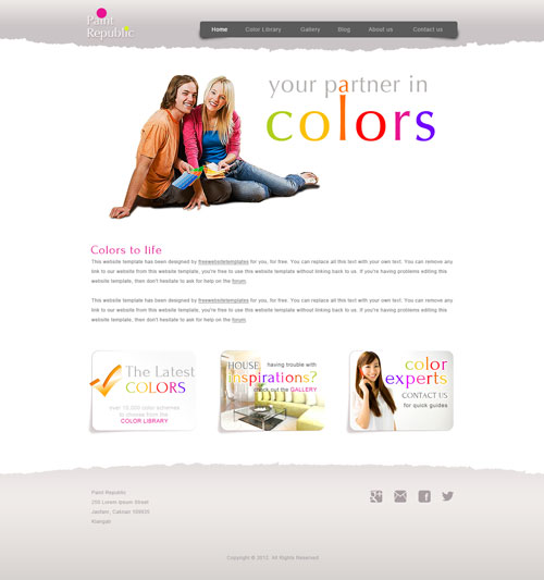 Paint Republic color harmony web template | Free Website Templates