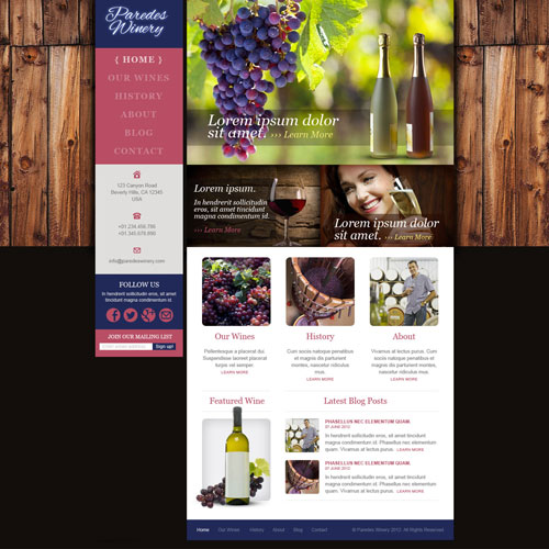 Today S New Template Is A Winery Website Good For Wineries Or Even Wine Aficionados