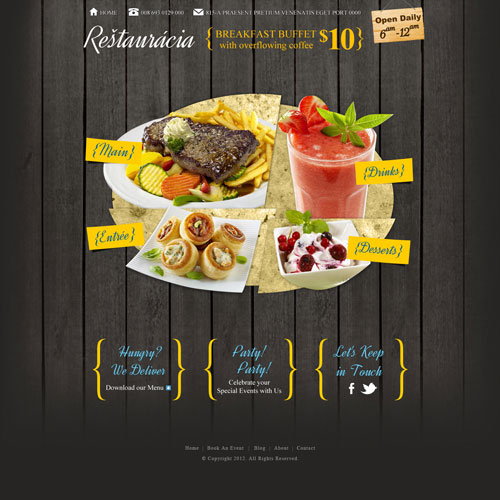 Restaurant website template design free templates