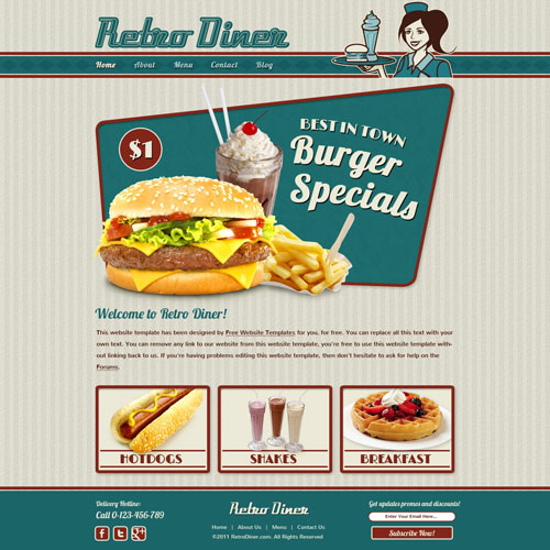 Retro Diner Website Template | Free Website Templates