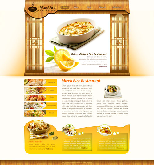 Rice restaurant web template free website templates