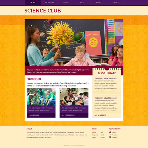 Is good for a science club or science project website