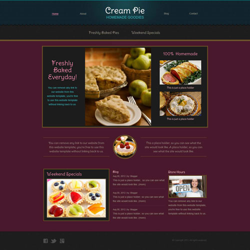 Snacks Website Template for patisseries or bakeries | Free Website ...