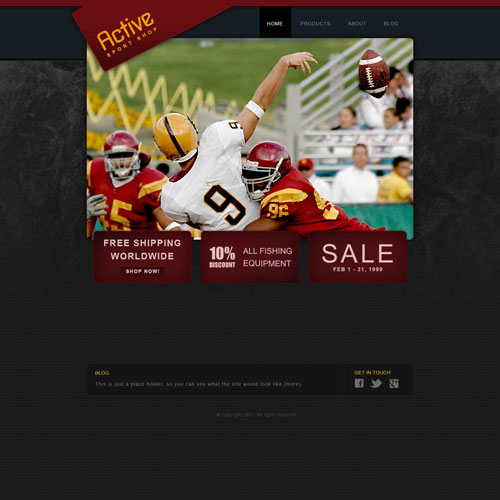 Sporting Goods Web Template | Free Website Templates