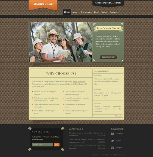summer camp website template free website templates. Black Bedroom Furniture Sets. Home Design Ideas