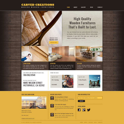 Wood working website template free website templates for Furnishing websites
