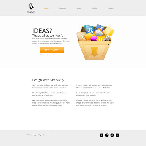zerotype a blank canvas template free website templates