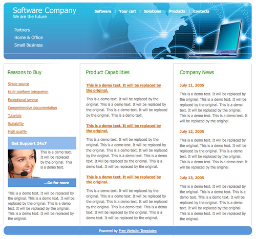Software web design template free website templates software web design template fbccfo