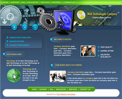 Web technologies template | Free Website Templates