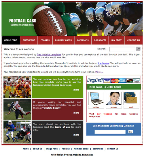 football template free website templates. Black Bedroom Furniture Sets. Home Design Ideas