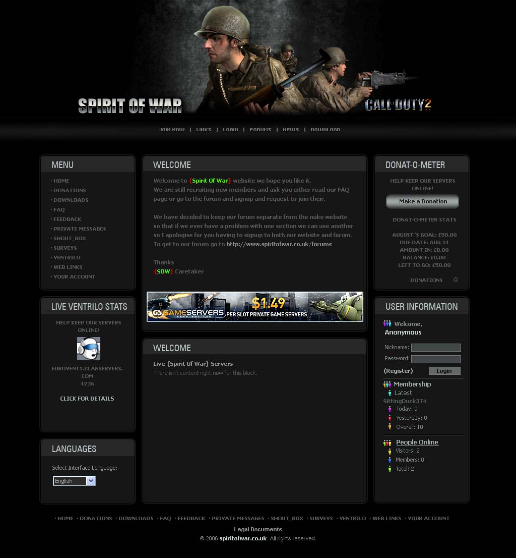 Closed - Website template for a call of duty 2 clan | Free Website ...