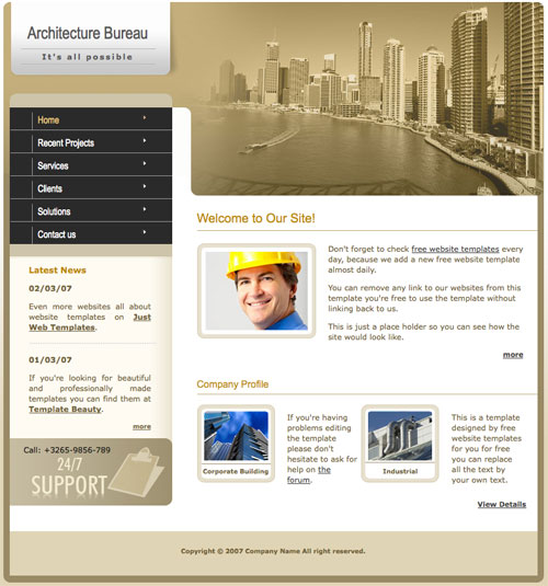Architecture template free website templates for Architectural websites