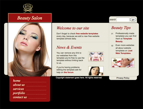 beauty salon template free website templates