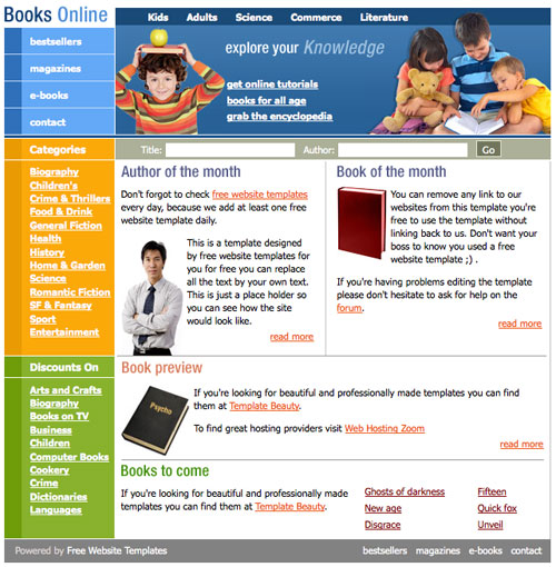Books Online Template Free Website Templates - Online book template free