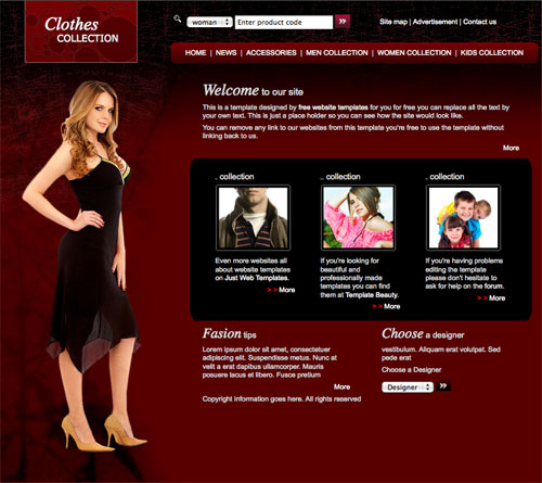 Clothes fashion template free website templates for Website for designing shirts