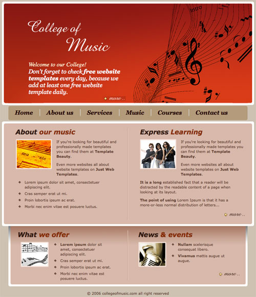 Ready   College music template Free Website Templates cenp0853