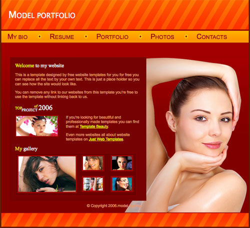 model portfolio template free website templates. Black Bedroom Furniture Sets. Home Design Ideas