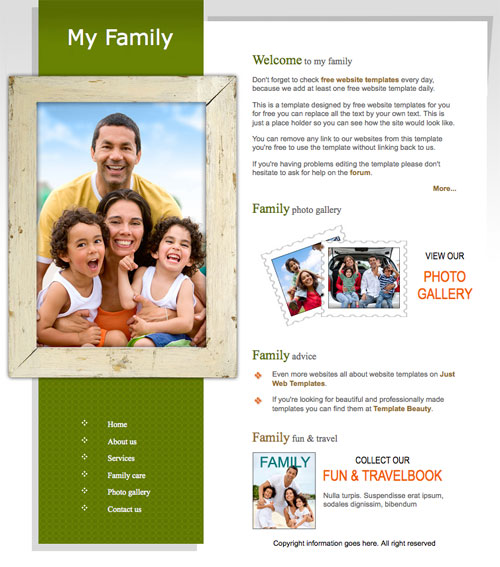 My Family Template Free Website Templates