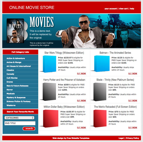 online movie store template free website templates. Black Bedroom Furniture Sets. Home Design Ideas