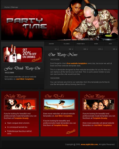 Party time template | Free Website Templates