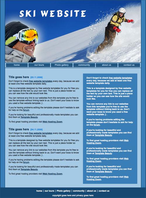ready ski template free website templates. Black Bedroom Furniture Sets. Home Design Ideas