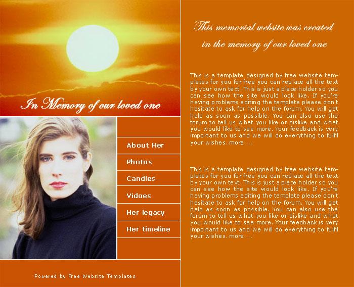 Ready   Memorial website template Free Website Templates B04zsonU